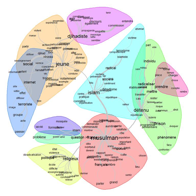 """Analyse de similitude du lexique de la classe 2 (""""radicalisation"""")"""